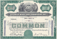 La Salle Wines and Champagne stock certificate 1963 - great Michigan winery