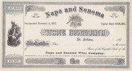 Napa and Sonoma Wine Company stock certificate 1870's