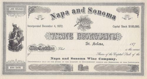 Napa and Sonoma Wine Company stock certificate 1870's