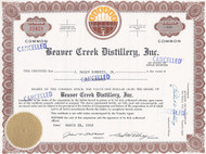 Beaver Creek Distillery stock certificate 1968 - failed Iowa whiskey maker