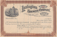 Lexington Brewing Company stock certificate circa 1898