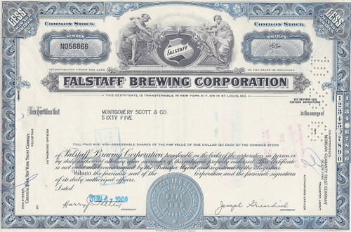 Falstaff Brewing Corporation stock certificate - blue
