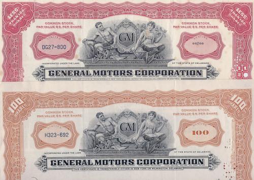 General Motors 1950s stock certificates set of 2 colors