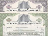 Stewart-Warner stock certificate Set of 2 colors