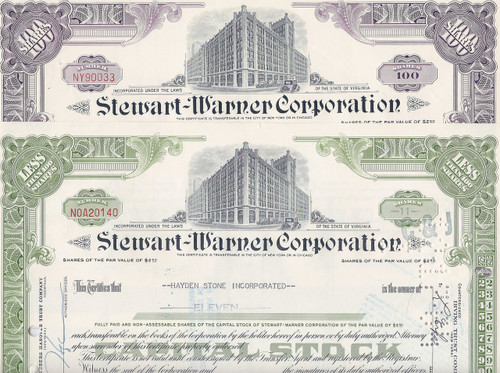 Stewart-Warner stock certificate Set of 2 colors