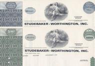Studebaker-Worthington stock certificate set of 2 colors - green ,blue