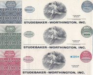 Studebaker-Worthington stock certificate set of 3 colors