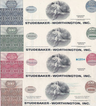 Studebaker-Worthington stock certificate set of 4 colors