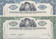 Studebaker Packard 50's set of 2 stock certificate colors