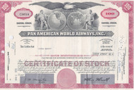 Pan American World Airways stock certificate - red