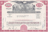 Juan Trippe as president = Pan American World Airways stock certificate - red