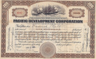 Pacific Development Corporation 1922 stock certificate- Edward Bruce as president