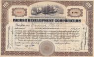 Pacific Development Corporation 1922 stock certificate- Edward Bruce as president
