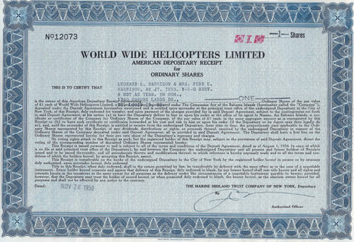 World Wide Helicopters ADR certificate 1958