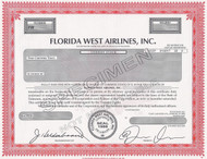 Florida West Airlines -specimen stock certificate