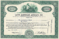 Latin American Airways, Inc stock certificate 1946