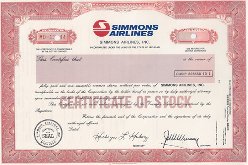 Simmons Airlines, Inc. specimen stock certificate