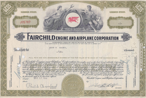 Fairchild Engine and Airplane Corporation 1955 stock certificate