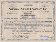 Virginia Airship Company 1937 stock certificate - maker of blimps and dirigibles. Dated after the Hidenburg disaster of the same year.