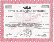 Custer Channel Wing Corporation 1960's stock certificate