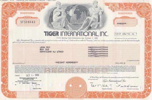 Tiger international , Inc. 1980 bond certificate