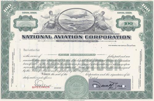 National Aviation Corporation - specimen stock certificate