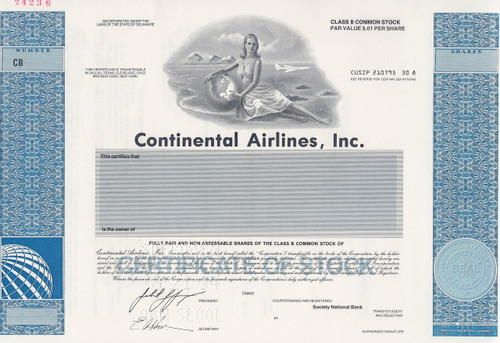 Continental Airlines, Inc specimen stock certificate