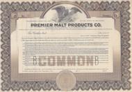 Premier Malt Products Company stock certificate circa 1920