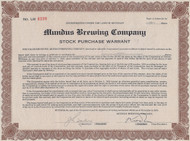 Mundus Brewing Company 1932 stock purchase warrant certificate