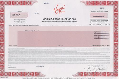 Virgin Express Holdings PLC 2001 stock certificate