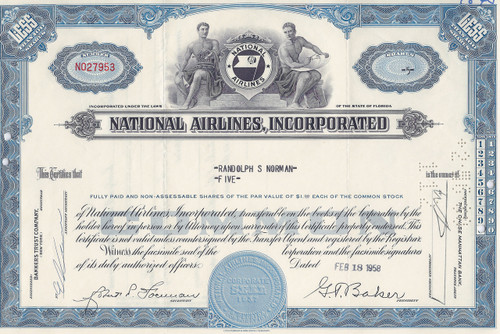 National Airlines stock certificate - blue