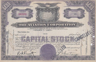 The Aviation Corporation purple stock certificate 1941