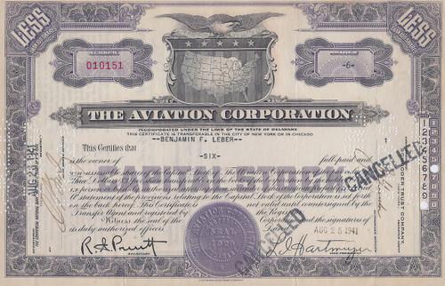 The Aviation Corporation purple stock certificate 1941
