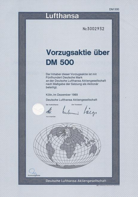 Lufthansa Share 500 DM - 1969