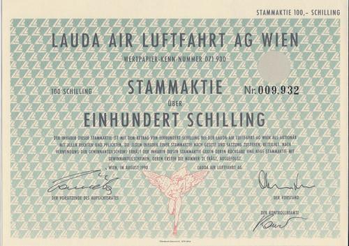 Lauda Air Luftfahrt AG ordinary share certificate