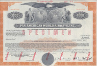Pan American World Airways - specimen $1000 bond certificate
