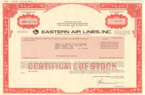 Eastern Air Lines, Inc.1986 stock certificate - red