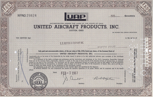 United Aircraft Products, Inc. 1967 stock certificate