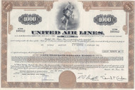 United Air Lines 1970's bond certificate - gold