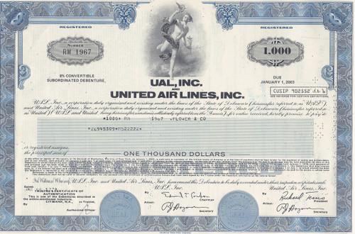 UAL bond certificate 1978 - blue