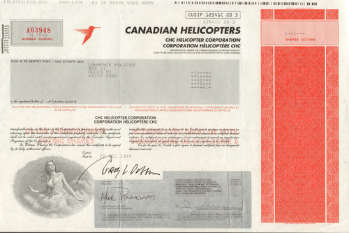 Canadian Helicopters 1999 stock certificate