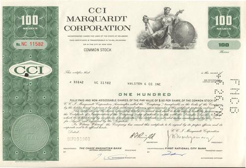 CCI Marquardt Corporation 1969 stock certificate