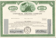 Universal Airlines Company 1973 stock certificate