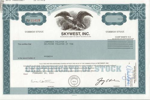 Skywest, Inc. 2001 stock certificate