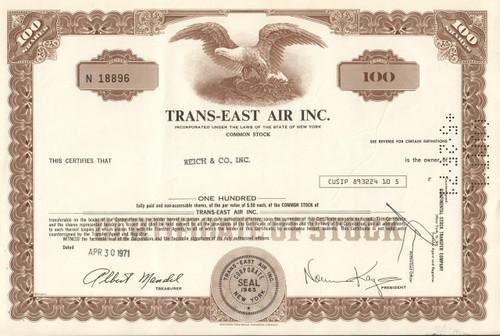 Trans-East Air Inc. 1971 stock certificate