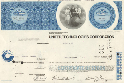 United Technologies Corporation stock certificate 1978