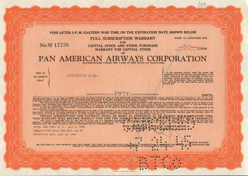 Pan Am full subscription warrant certificate - orange
