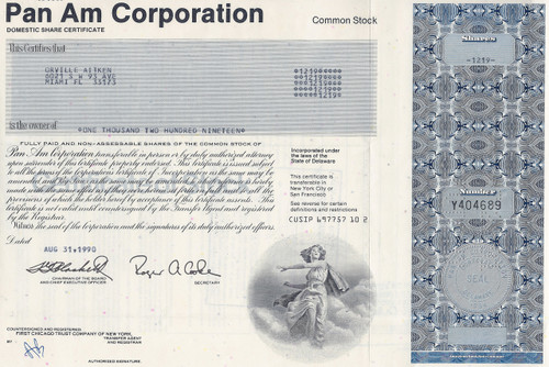 Pan Am Corporation stock certificate