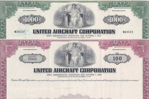 United Aircraft stock cert set