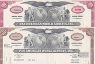 Pan American World Airways stock certificate set of 2 colors - red, brown